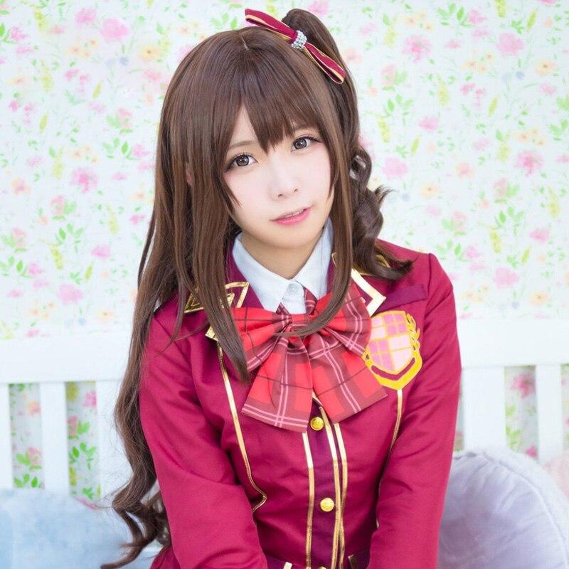 La IDOLM Cenicienta niñas Shimamura Uzuki Peluca de Cosplay para mujeres rizado ondulado Anime peluca sintética traje de fiesta rojo marrón
