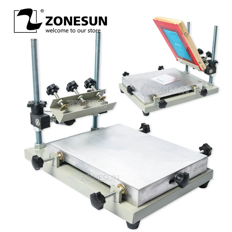 free shipping discount with gift 4 color 2 station silk screen printing machine tshirt printer press equipment carousel squeegee ZONESUN High Precision Stencil Printer Silk Screen Printer SMT Solder Paste Silk Screen Printing Machine For Metal Plastic Wood