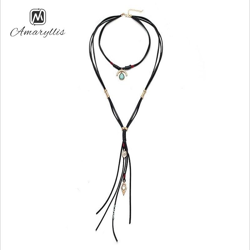 Amaiyllis Vintage Multilayer Leather Rope Chain Choker Necklace Bohemia Stone Geo long Pendant Necklace Ethnic Body Necklace