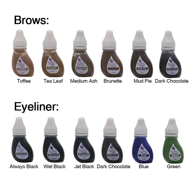 6 pçs de alta qualidade eua btch único uso pigmento obter confiança pura puro micropigmento permanente maquiagem tatuagem tintas lábio sobrancelha