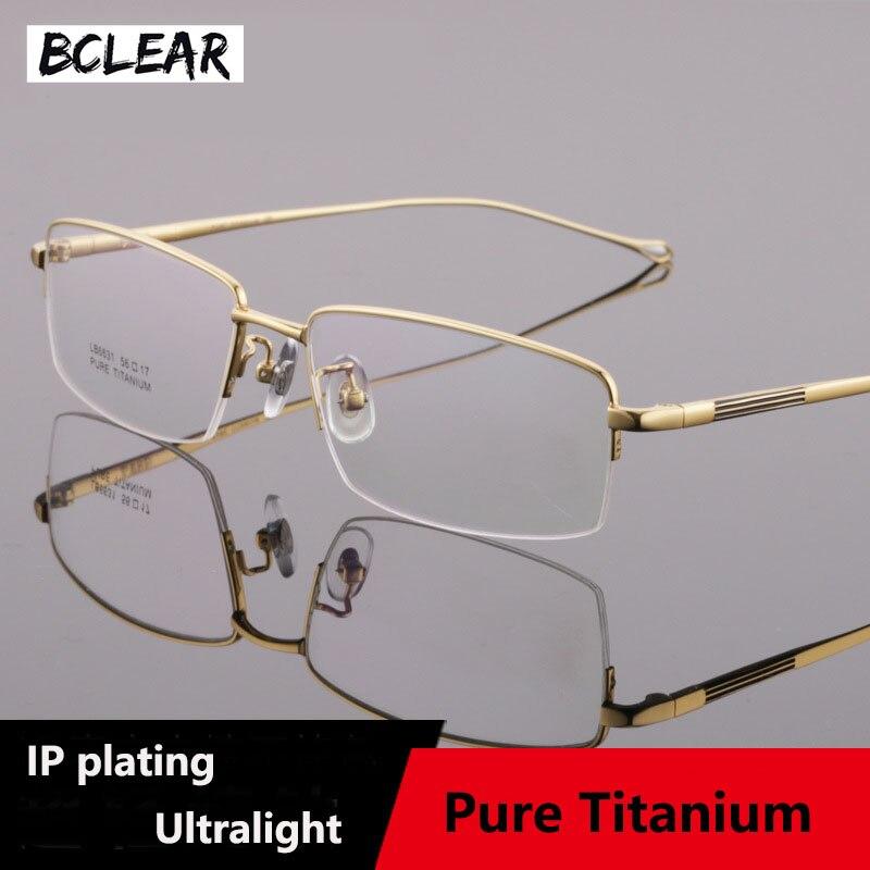 BCLEAR Half Randloze Brillen Frame Optische Recept Semi-Velg Bril Frames Pure Titanium Mode Mannen Lenzenvloeistof Ultralight