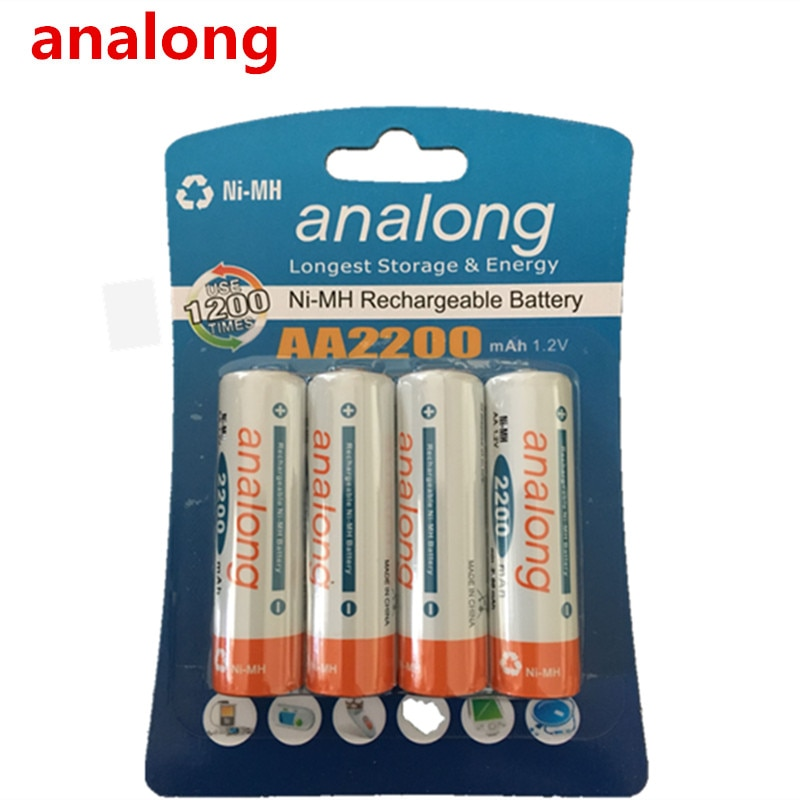100% Оригинальные analong 2200mAh NiMH AA Аккумуляторы, высококачественные игрушки, камеры, фонарики и батареи