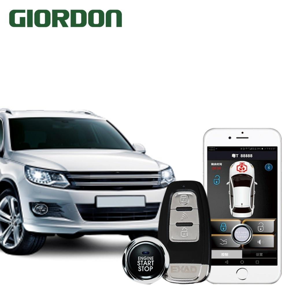 Teléfono inteligente control de coche PKE un clic de inicio sistema antirrobo cerca para desbloquear dejar la correa de bloqueo función de alarma de vibración