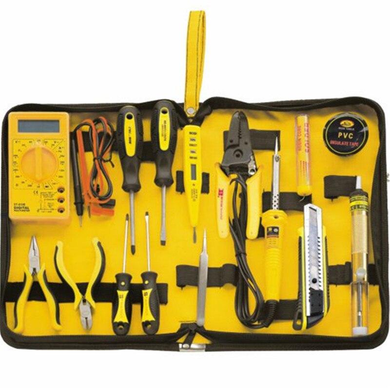 15 stücke Heimelektronik reparatur-werkzeuge Kit elektronische telekommunikation Multimeter + lötkolben + zangen