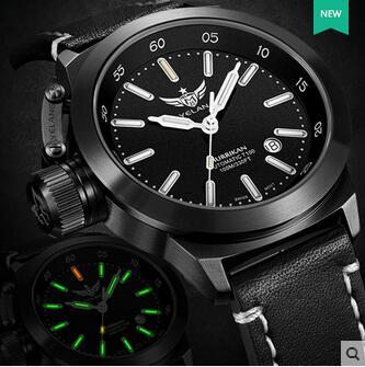 ييلانج ساعة يد اتوماتيكية للرجال T100 سويسرا ETA2824 حركة 25 مجوهرات ساعة يد عسكرية التاريخ الياقوت والجلود