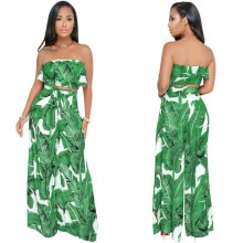 Комплект из двух предметов с тропическим принтом, женский короткий Топ без бретелек и широкие брюки, летние повседневные пляжные комплекты из 2 предметов в стиле бохо