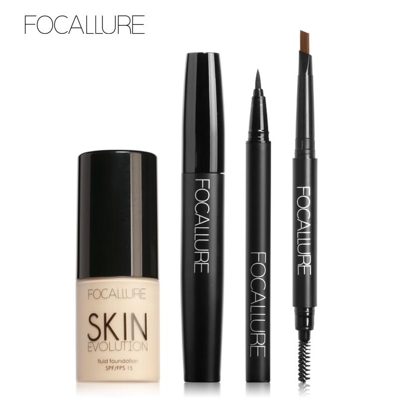 Conjunto de maquillaje Focallure, 8 opciones, 4 Uds., máscara delineador lápiz para cejas maquillaje líquido de base cosméticos