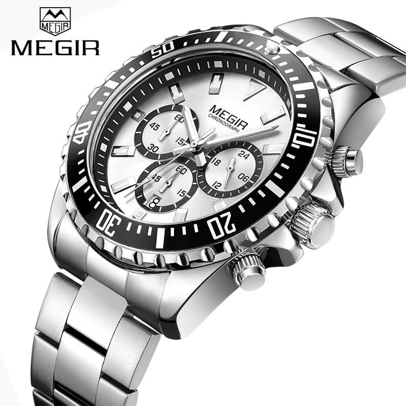Nowe zegarki megir męskie Top Luxury Brand stalowy pasek kwarcowy zegarek mężczyźni wojskowy armia zegarek sportowy chronograf zegarek męski 2064
