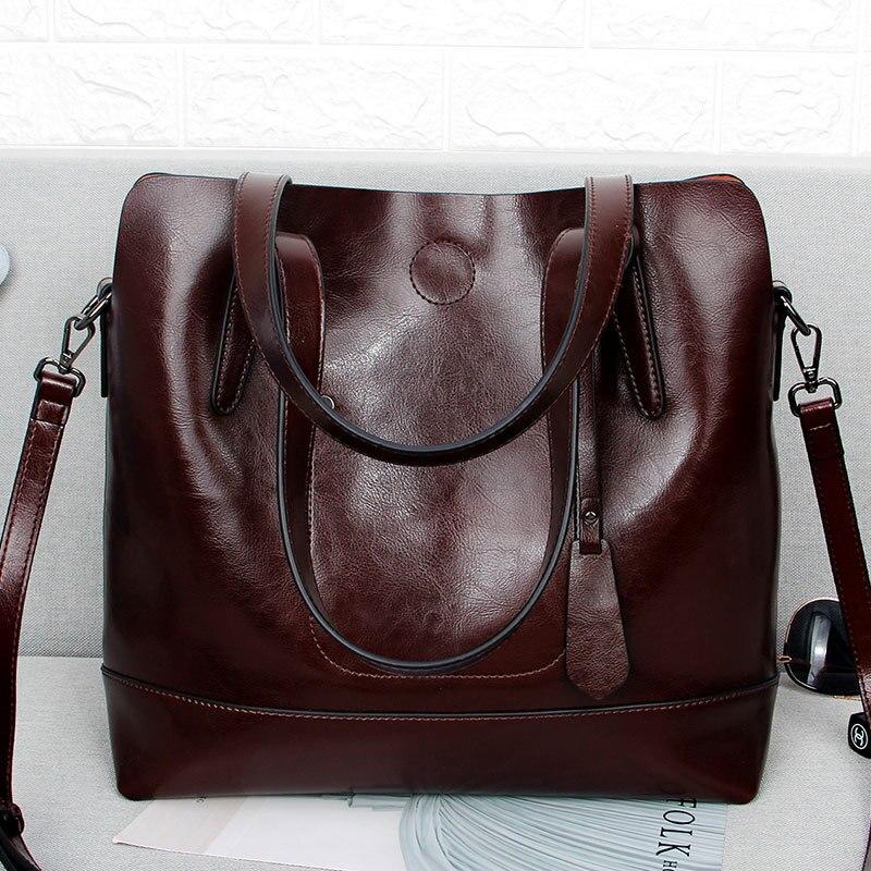 Vintage Genuine Leather Women Tote Handbag European Style Luxury Classic Deign Ladies Oil Wax Cow Leather Messenger Shoulder Bag