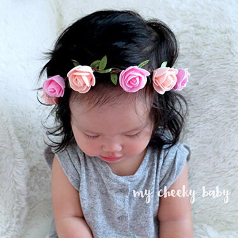 Diadema rosa para niños, diadema Bohemia con flores, diadema Floral, diadema ajustable, accesorios para el cabello para recién nacidos, 1 pieza