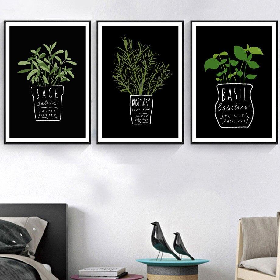 Gohipang lienzo fotos decorativas cocina pared para oficina maceta planta y letras A4 pintura arte impreso Estilo nórdico carteles de moda