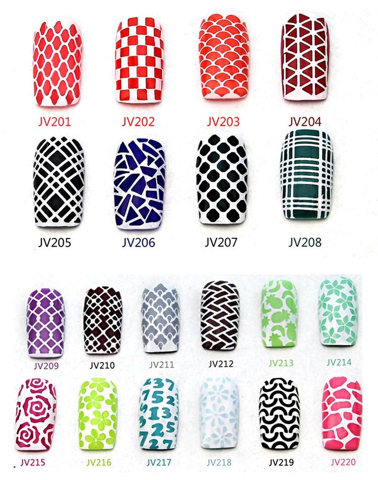 1pcs 12 sticker tips nail art hollow irregular grid stencil nail hollow Templates sticker stamping guide reusable nail art tool