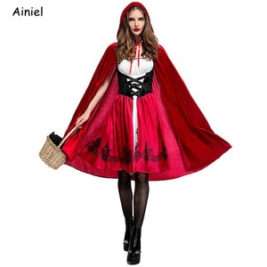 Fairy Tales Little Red Riding Hood Cosplay Costumes Red Cap Cloak Cape Cosplay Clothes Halloween Purim Party Dress Women Girls