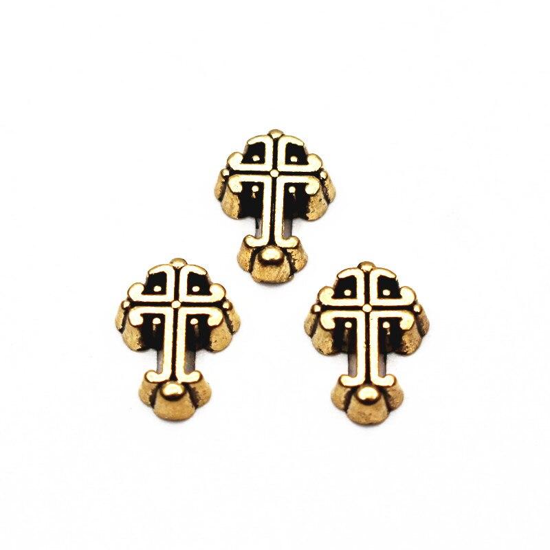 Atacado 10 pçs/lote dourado do vintage cruz encantos flutuantes Liga encantos viver medalhões de memória vidro diy jóias