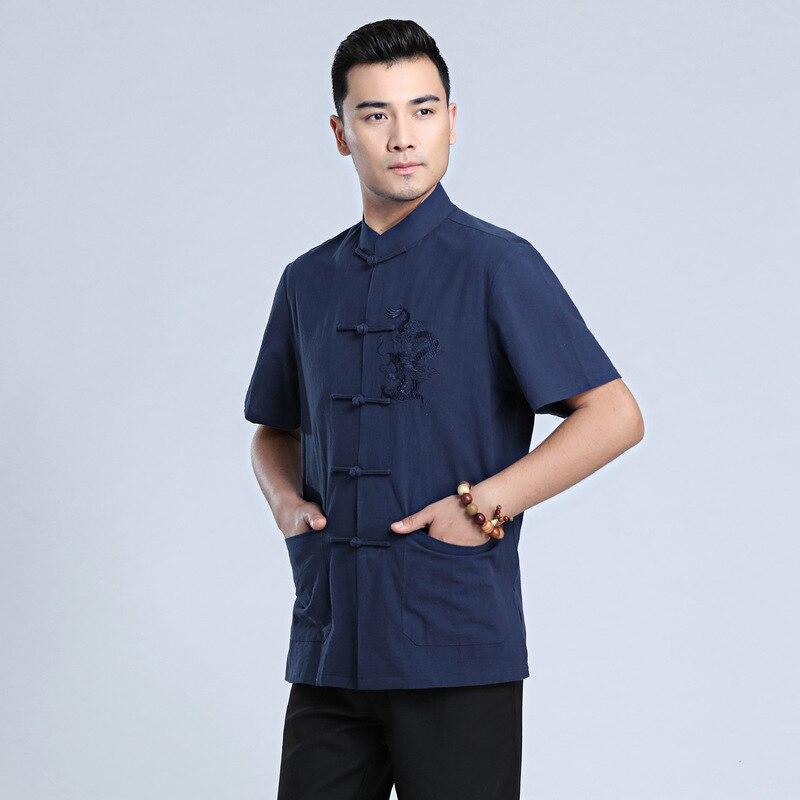 Ropa de dragón chino tradicional uniforme de Kung Fu Tai Chi azul marino traje Tang Top camisa de lino de algodón de verano para hombre M-XXXL