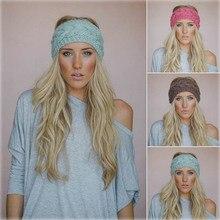 Solidna szeroka dzianinowa wełniana opaska zimowa ciepłe ucho szydełkowe turban akcesoria do włosów dla kobiet dziewczyna opaska na włosy opaski na głowę