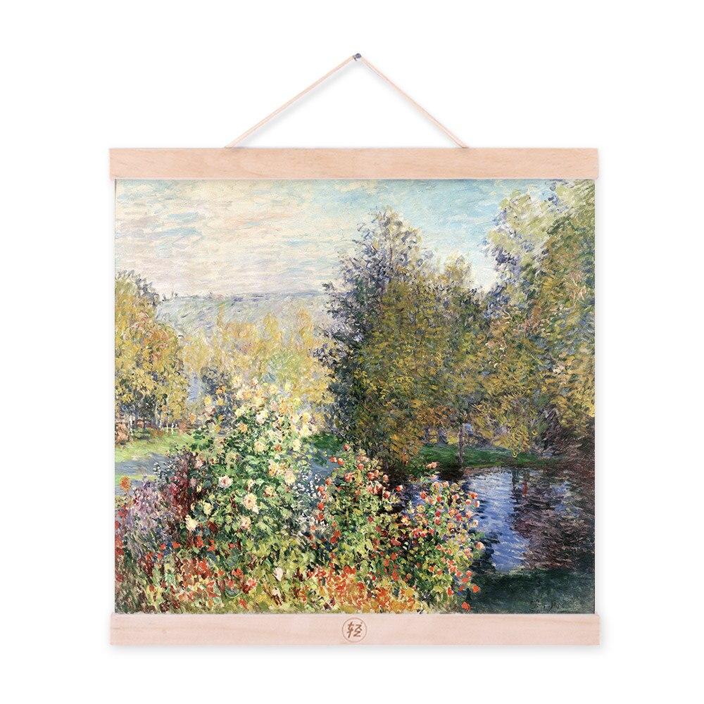 Póster grande para jardín de cabaña verde Claude Monet impresionista moderno con impresión Original de lienzo de flores, pinturas al óleo para pared de casa, regalo de arte
