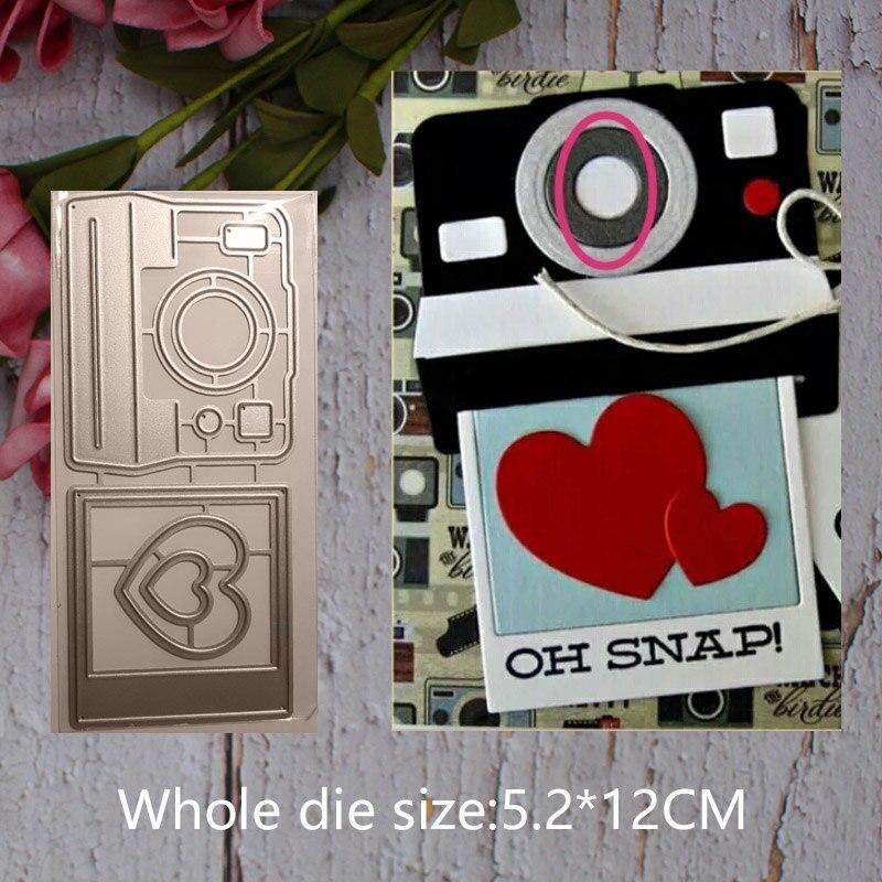 square camera heart Metal steel frames Cutting Dies DIY Scrap booking Photo Album Embossing paper Cards5.2*12cm