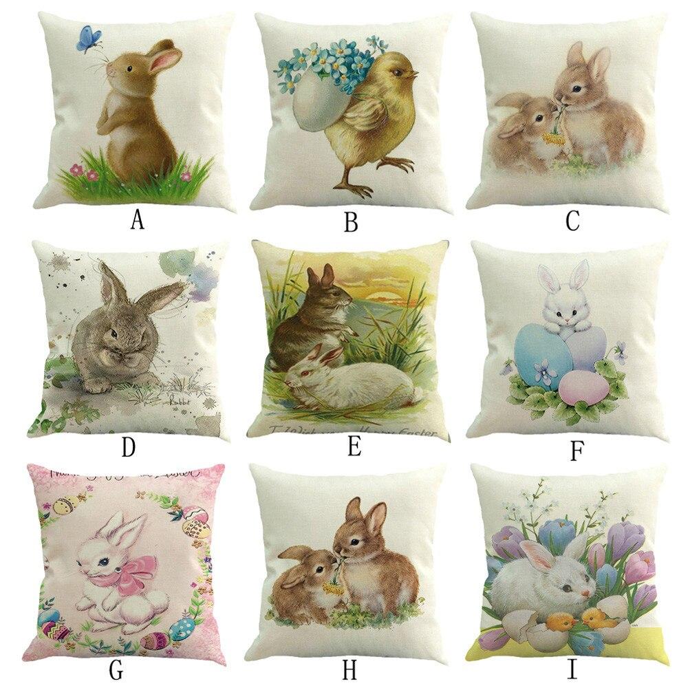 Pascua sofá cama decoración del hogar caja cojín Festival funda de cojín conejo de pascua huevo de Pascua impreso funda de almohada