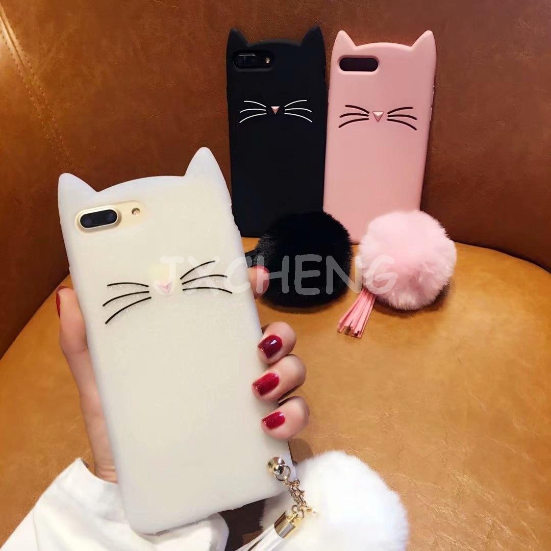 Funda de silicona blanda con dibujo de gato Meow meow 3D para Huawei Mate 20X/P30/lite/P30 Pro/Y7 Y9 2019/Honor V20 con funda de teléfono de bola de felpa