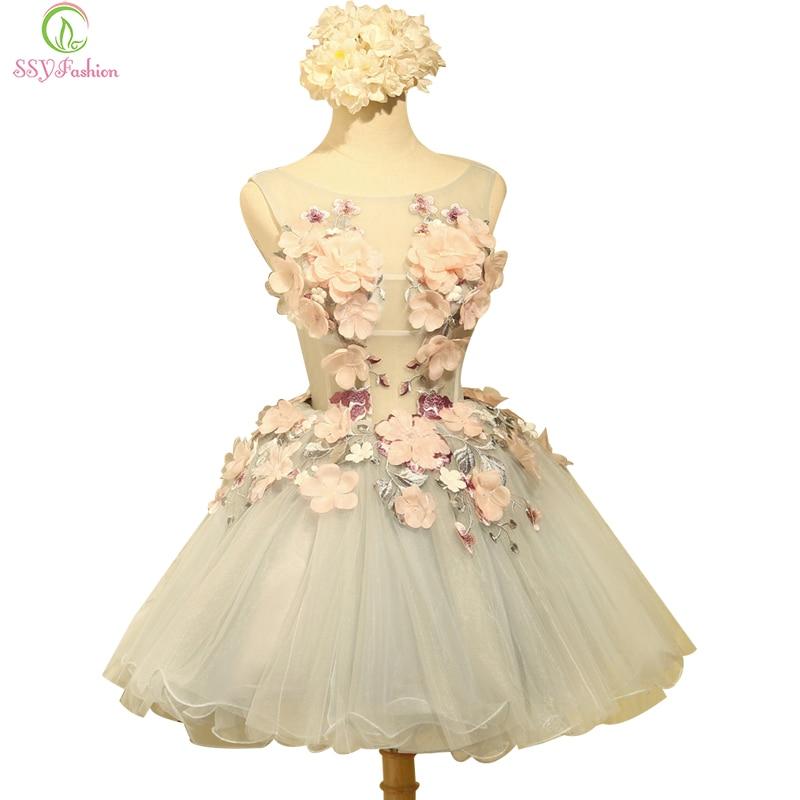 Женское коктейльное платье SSYFashion, вечернее мини-платье из органзы без рукавов с аппликацией и цветочным принтом, индивидуальный пошив