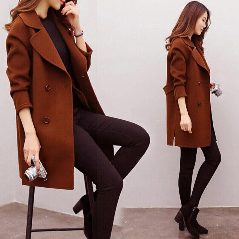 Abrigo largo y cálido de mezcla de lana para mujer, de talla grande, para mujer, abrigo de lana y solapa, abrigo de Cachemira para Otoño e Invierno