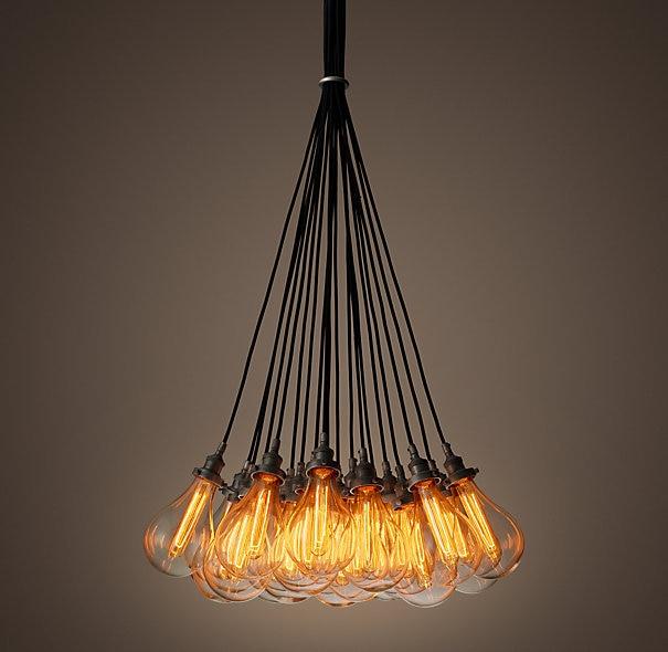 Replica item industrial 19 luces lágrima filamento 19-cuerda araña cristal de hierro envío gratis