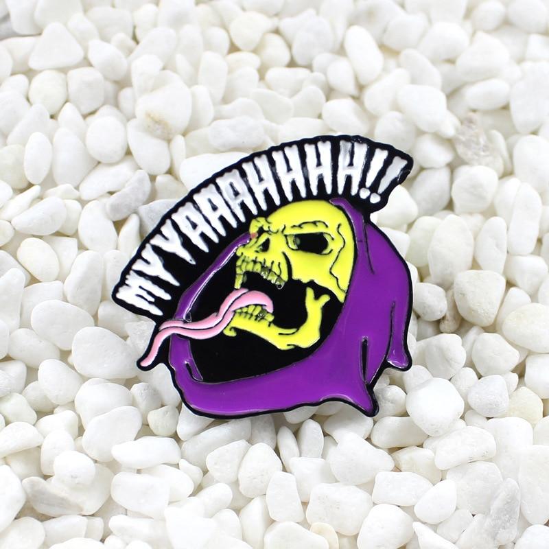 Broche de esmalte de calavera púrpura a la moda con insignia de muerte y lengua larga, bolso punk oscuro, camisa, Collar, sombrero, esqueleto, joyería, regalo para amigos