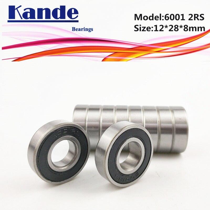 6001RS teniendo 10 Uds ABEC-5 de alta calidad 6001 2RS sola fila rodamiento rígido de bolas 6001-2RS 12x28x8mm