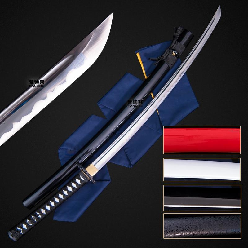 Japanese Anime Samurai Katana Sword Sharp Pure color Full Tang Chinese sword Curved knife collection