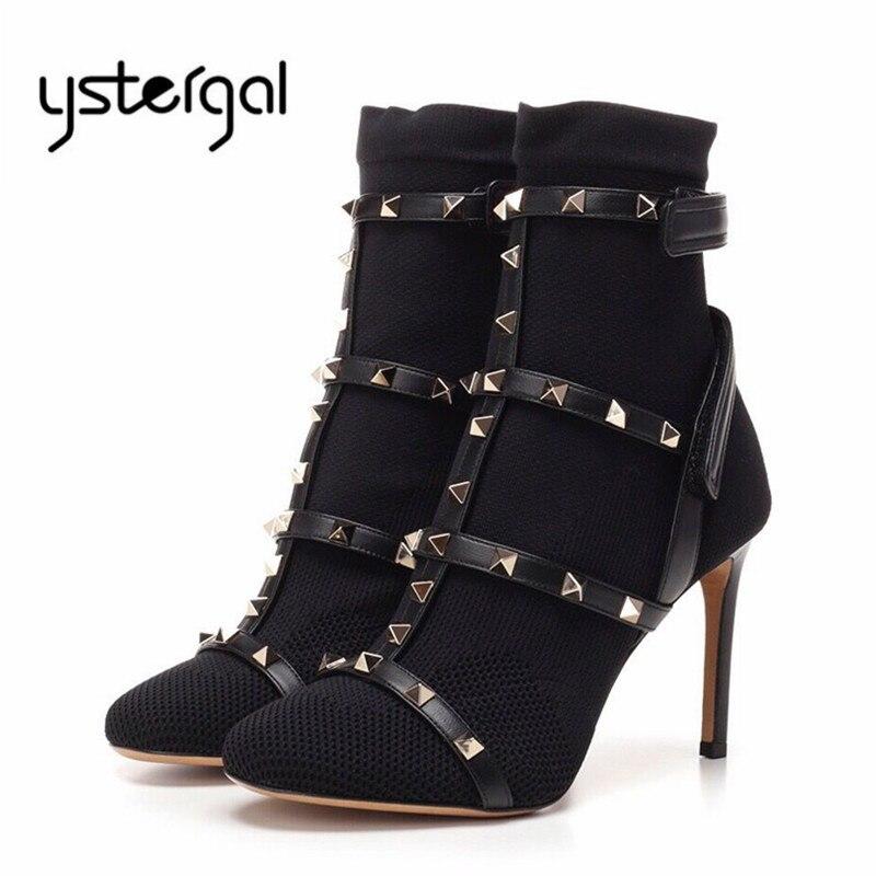 Botines Ystergal con tachuelas para Mujer, Botines negros de tacón alto para Mujer, zapatos de tacón para Mujer, botines de punto sexis, Botas de calcetín ajustadas