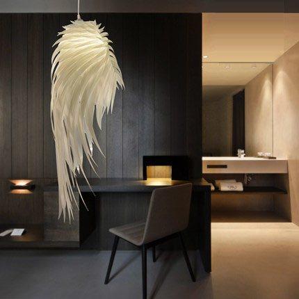 Feather Lamp Pendant Light Lampe Design Luminaria De Teto Pendente Hanging Lamp Pendant Lights Plastic Angel Wings Pvc
