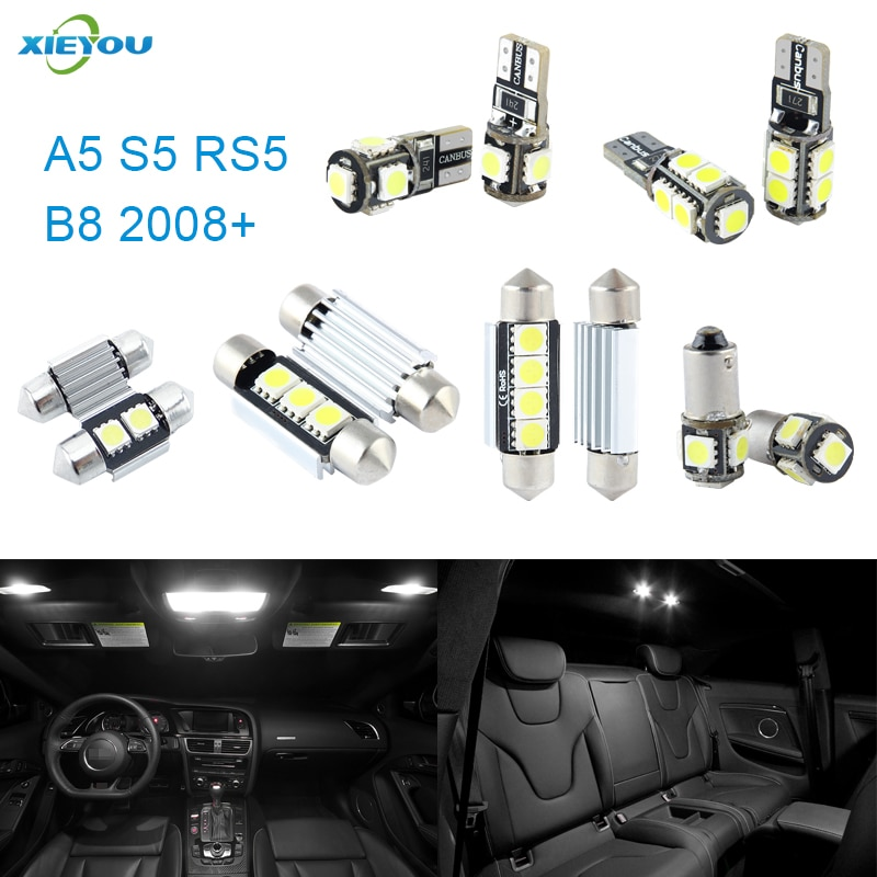 Canbus led interior luzes kit pacote 12 peças para audi a5 s5 rs5 b8 (2008 +)