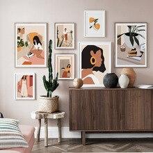 Abstrait mode Vintage fille minimaliste mur Art toile peinture nordique affiches et impressions mur photos pour salon décor