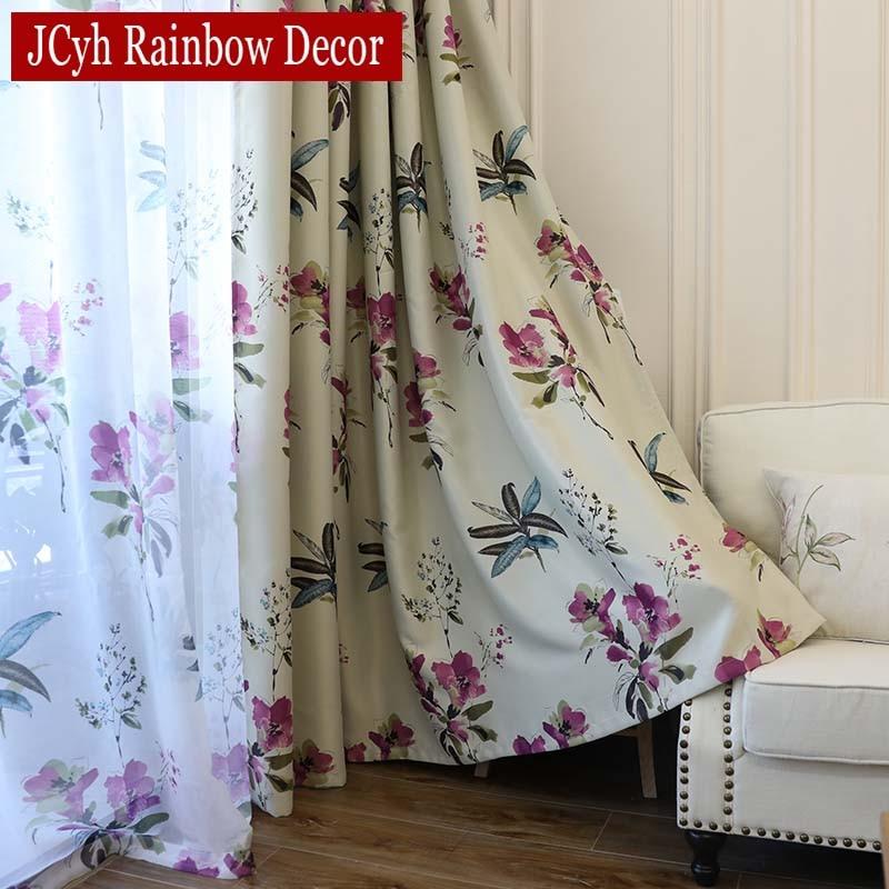 Roxo floral cortinas blackout para sala de estar quarto janela moderna curta cortina para cozinha tenda gordijnen rideaux voilage