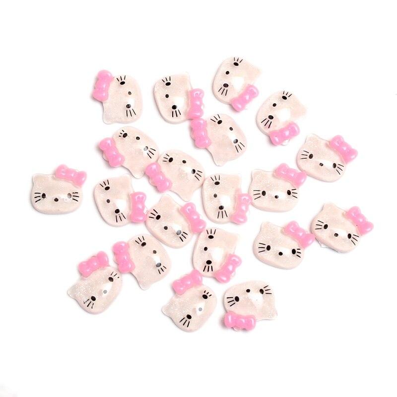 50 Uds fucsia Bowknot Min gatos resina decoración manualidades Flatback cuentas cabujón álbum de recortes DIY adornos accesorios botones