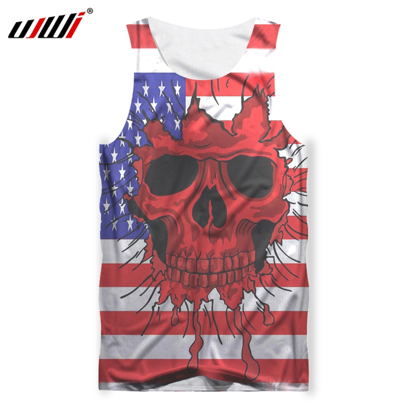 UJWI Men Tank Tops New Arrival Summer Tops 3d Print US Flag Skull Tanktop Male Bodybuilding Out Wear Shirt Sleeveless Vest