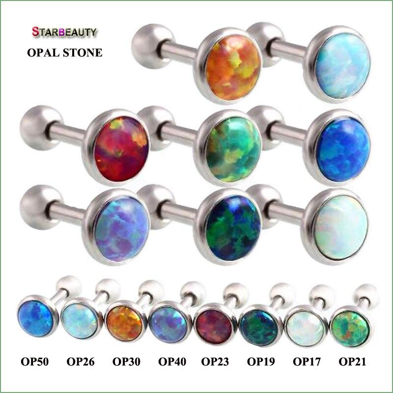 Starbeauty 1 pieza de lujo de ópalo Natural de hueso del oído 16G nariz Piercing Ombligo 1.2x6x 3/4/5mm Opal labio perforación en el Ombligo joyería del cuerpo