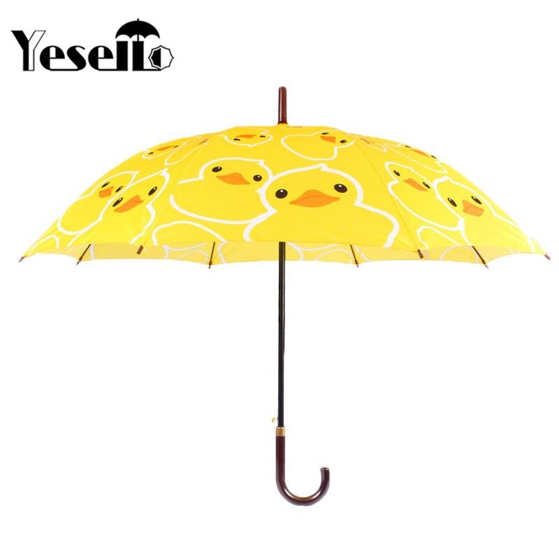 Bonito pato amarillo de dibujos animados de Yesello, paraguas largo manejado a prueba de viento y lluvia para mujeres y niños