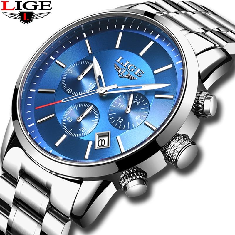 2019 New LIGE Mens Watches Top Brand Luxury Men's Fashion All Steel  Waterproof Analog Quartz Watch Men Silver Blue Sprot Clock