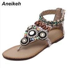 Aneikeh 2018 chaussures plates femmes sandales mode décontracté plage filles dété sandales bohème femmes chaussures perlées sandalia taille 35-40