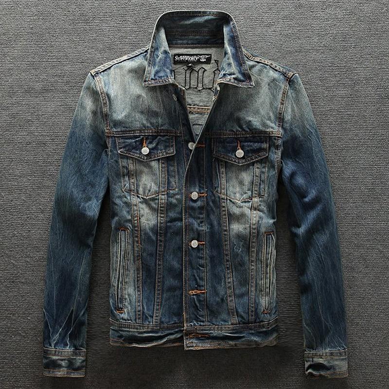 2019 New Street Fashion Men Jacket High Quality Skull Embroidery Nostalgia Retro Denim Jacket Men Coat Biker Jackets