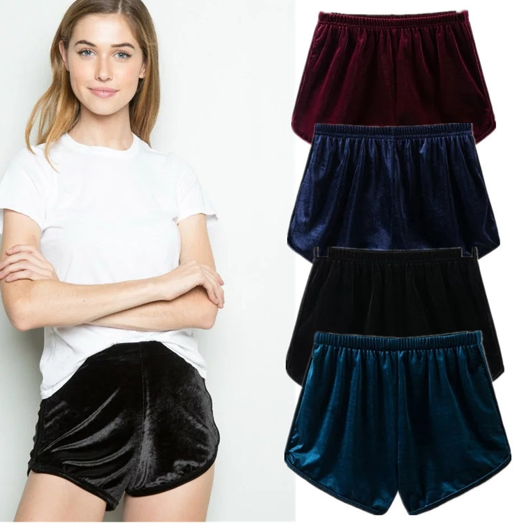 Sexe מארה ישר אלסטי מותניים Casua Velvetl קטיפה מכנסיים קצרים בציר קיץ קצר Feminino אמצע מותן קיץ בגדי נשים