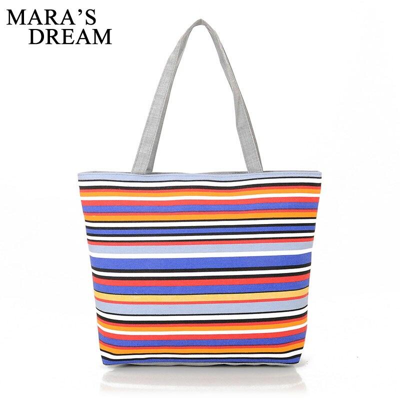 Женская Холщовая Сумка Maras Dream, пляжная сумка-тоут в полоску с радужными принтами, Повседневная сумка для покупок
