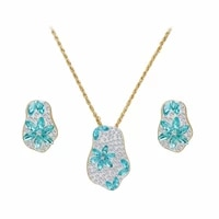 2018 new style blue stone gold color plated necklaceearring fashion jewelry sets for women party and gifts