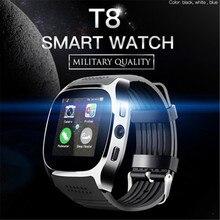 Nouveau Design T8 Bluetooth montre intelligente électronique intelligente Sport Facebook Whatsapp Sync SMS Smartwatch pour hommes femmes unisexe cadeau