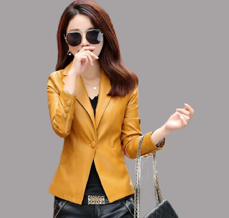 موضة حجم كبير 4XL المرأة الدعاوى الجلدية ملابس خارجية جديدة 2021 الربيع قصيرة ضئيلة السترة المرأة معطف بذلة نسائية الأصفر