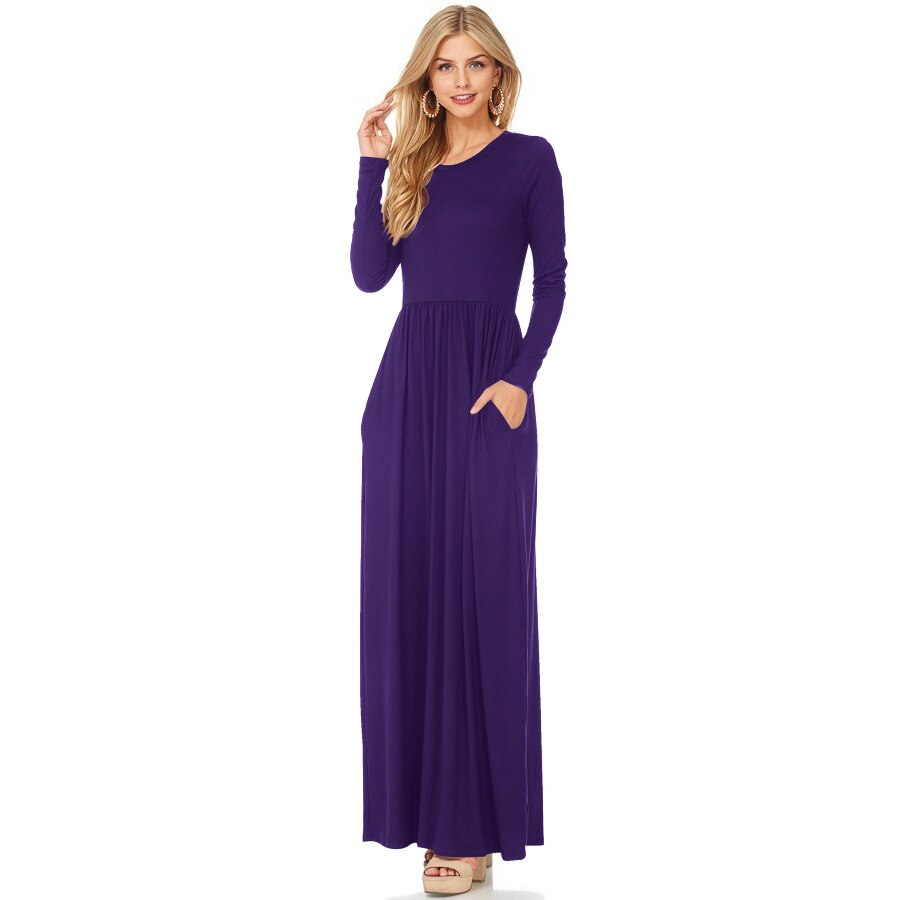Long Sleeve O-Neck Women Black Red Dark Blue Purplue Dresses 2019 New Autumn Fashion Casual Female Long Dress Plus Size 2XL