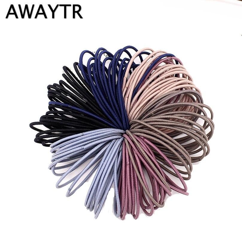 AWAYTR-bandes de cheveux pour femmes noires   Lot de 50 pièces/ensemble, bande de caoutchouc, bande de cheveux tendance pour filles, bande de cheveux gomme pour accessoires de cheveux