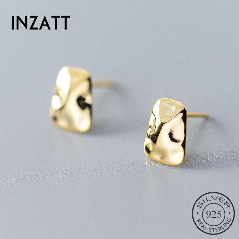 INZATT Plata de Ley 925 auténtica pendientes geométricos irregulares brillantes para mujeres encantadoras, joyería fina para fiestas, regalo de Color dorado